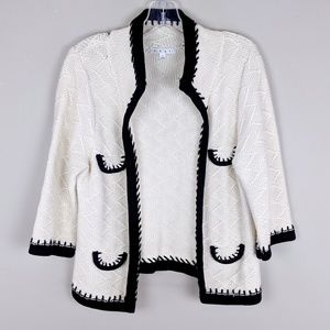 CAbi | White Black Knit Cardigan